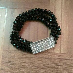Fashionable Black Rhinestone CZ Stretch Bracelet